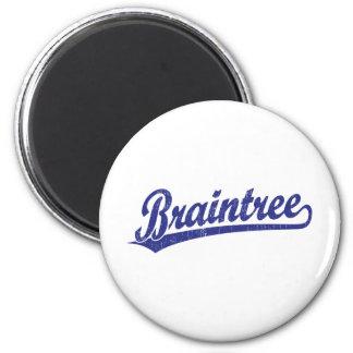 Braintree script logo in blue 6 cm round magnet