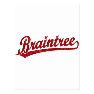 Braintree script logo in red postcard