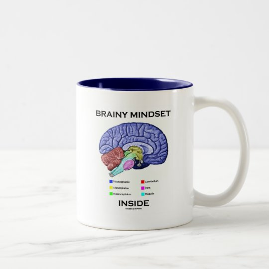 Brainy Mindset Inside (Anatomical Brain) Two-Tone Coffee Mug