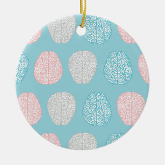 Brainy Pastel Pattern (Awesome Pastel Brains) Round Ceramic Decoration