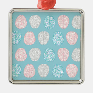 Brainy Pastel Pattern Silver-Colored Square Decoration