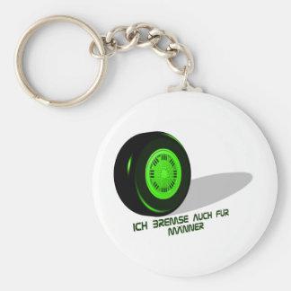 Brake for man green basic round button key ring