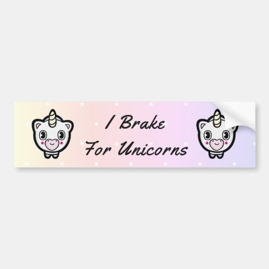 Brake For Unicorns Pastel Polka Dot Bumper Sticker