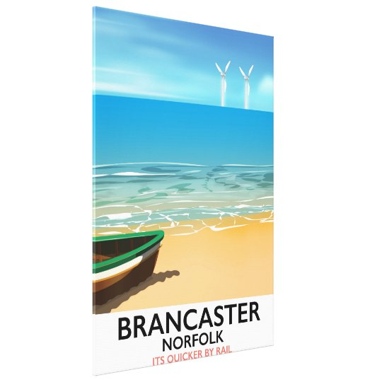 Brancaster Norfolk Railway Beach travel poster Canvas Print