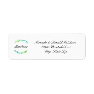 Branch Blue Green Wreath -Return Address Label