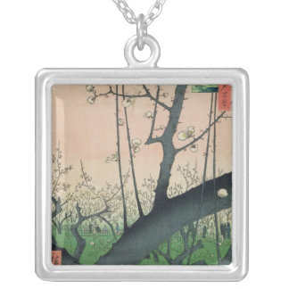 Branch of a Flowering Plum Tree Silver Plated Necklace