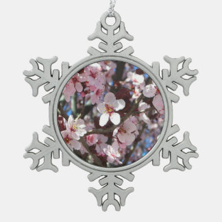 Branch of Pink Blossoms Spring Flowering Tree Pewter Snowflake Decoration