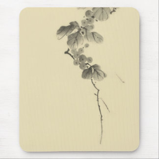 Branch with Leaves and Berries Hokusai Japanese Mousepad