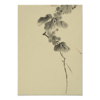 Branch with Leaves and Berries Hokusai Japanese Print