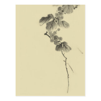 Branch with Leaves & Berries, Hokusai Fine Art Postcard