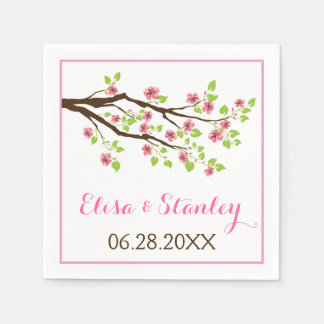 Branch with pink cherry blossoms spring wedding paper napkin