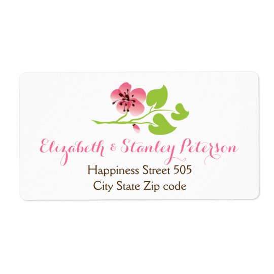 Branch with pink cherry blossoms spring wedding shipping label