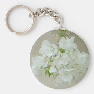Branch with white flowers basic round button key ring