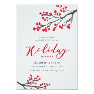 Branches and Berries Holiday Dinner Invitation