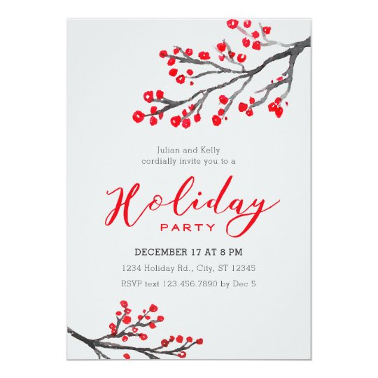 Branches and Berries Holiday Party Invitation