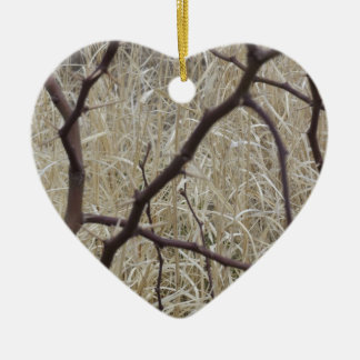 Branches and Dry Grass Ceramic Heart Decoration