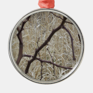Branches and Dry Grass Silver-Colored Round Decoration