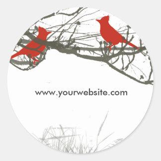 Branches and  Red  Singing Bird Round Sticker