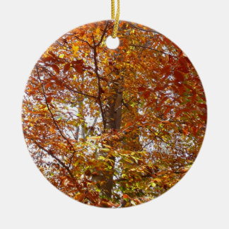 Branches of Orange Leaves Autumn Nature Christmas Ornament
