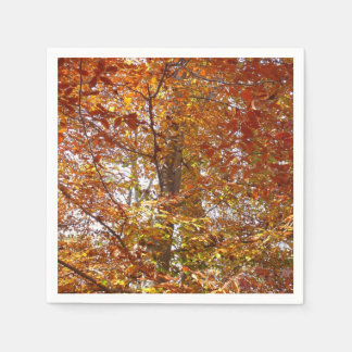 Branches of Orange Leaves Autumn Nature Disposable Napkins