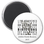 Branches on a Tree Family Reunion Quote 6 Cm Round Magnet