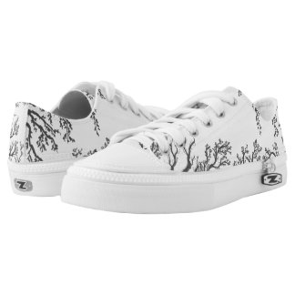 branches with birds and leaves on a lig printed shoes