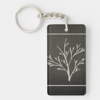 Branching Tree Sapling Chalk Drawing Double-Sided Rectangular Acrylic Key Ring