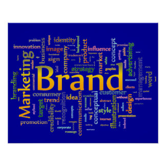 Brand and Marketing  Related Text Blue Poster