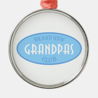 Brand New Grandpas Club (Blue) Silver-Colored Round Decoration