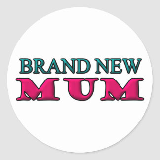 Brand New Mum Round Sticker