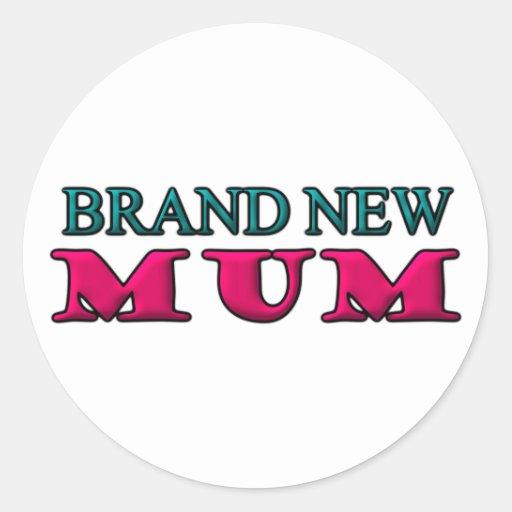 Brand New Mum Round Sticker