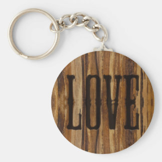 Branded with Love - Faux Wood Design Basic Round Button Key Ring