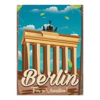 Brandenburg gate ,Berlin cartoon travel poster