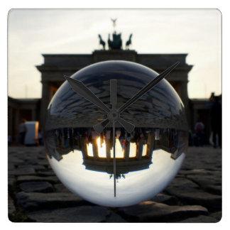 Brandenburg Gate sunset 002.1, Berlin Square Wall Clock