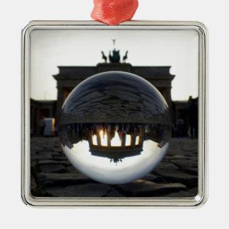 Brandenburg Gate sunset, Berlin Square Metal Christmas Ornament