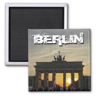 Brandenburg Gate, sunset, BERLIN Square Magnet