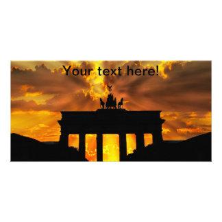 Brandenburger Gate at sunset, Berlin Personalised Photo Card