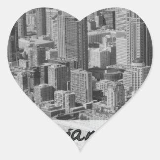 Branding in style heart sticker
