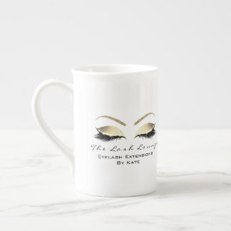 Branding Lashes Extension Beauty Studio Gold White Tea Cup