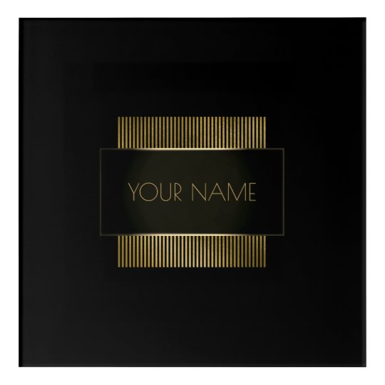 Branding Logo Black Gold Frame Minimal Geometry Acrylic