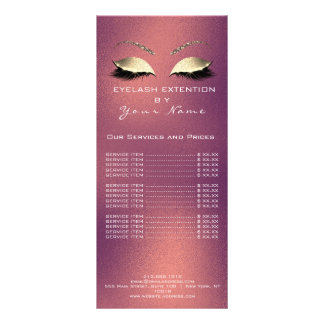 Branding Price List Lashes Extension Copper Glitte Rack Card