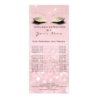 Branding Price List Lashes Extension Pink Gold Rack Card