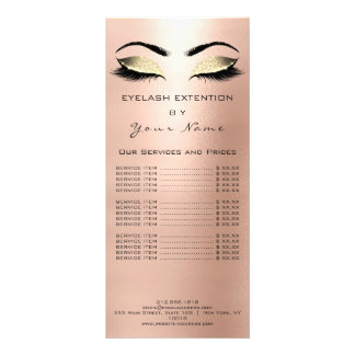 Branding Price List Lashes Extension Pink Rose1 Rack Card