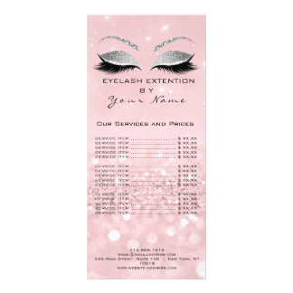 Branding Price List Lashes Extension Pink Silver Rack Card