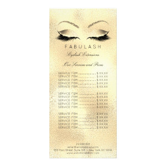 Branding Price List Lashes Extention Gold Makeup1 Rack Card