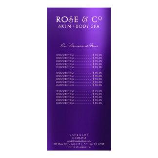 Branding Price List Pink Rose Gold Amethyst Purple Personalised Rack Card