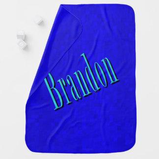 Brandon, Name Logo On Blue Mosaic, Baby Blanket