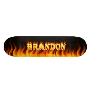 Brandon skateboard fire and flames design