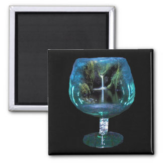 Brandy glass with lagoon waterfall magnet
