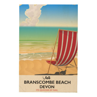 Branscombe Beach Devon vintage seaside poster